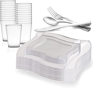 Elegant Disposable Plastic Dinnerware Set for 120 Guests - Includes Fancy Wave Clear Dinner Plates, Dessert/Salad Plates, Silverware/Silver Cutlery & Cups For Wedding, Birthday Party & Other Occasions