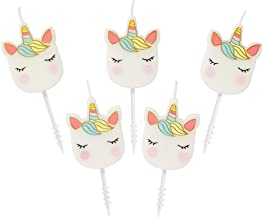 Talking Tables Heart Unicorn Shaped Candles 5Pk, One, Multicolor