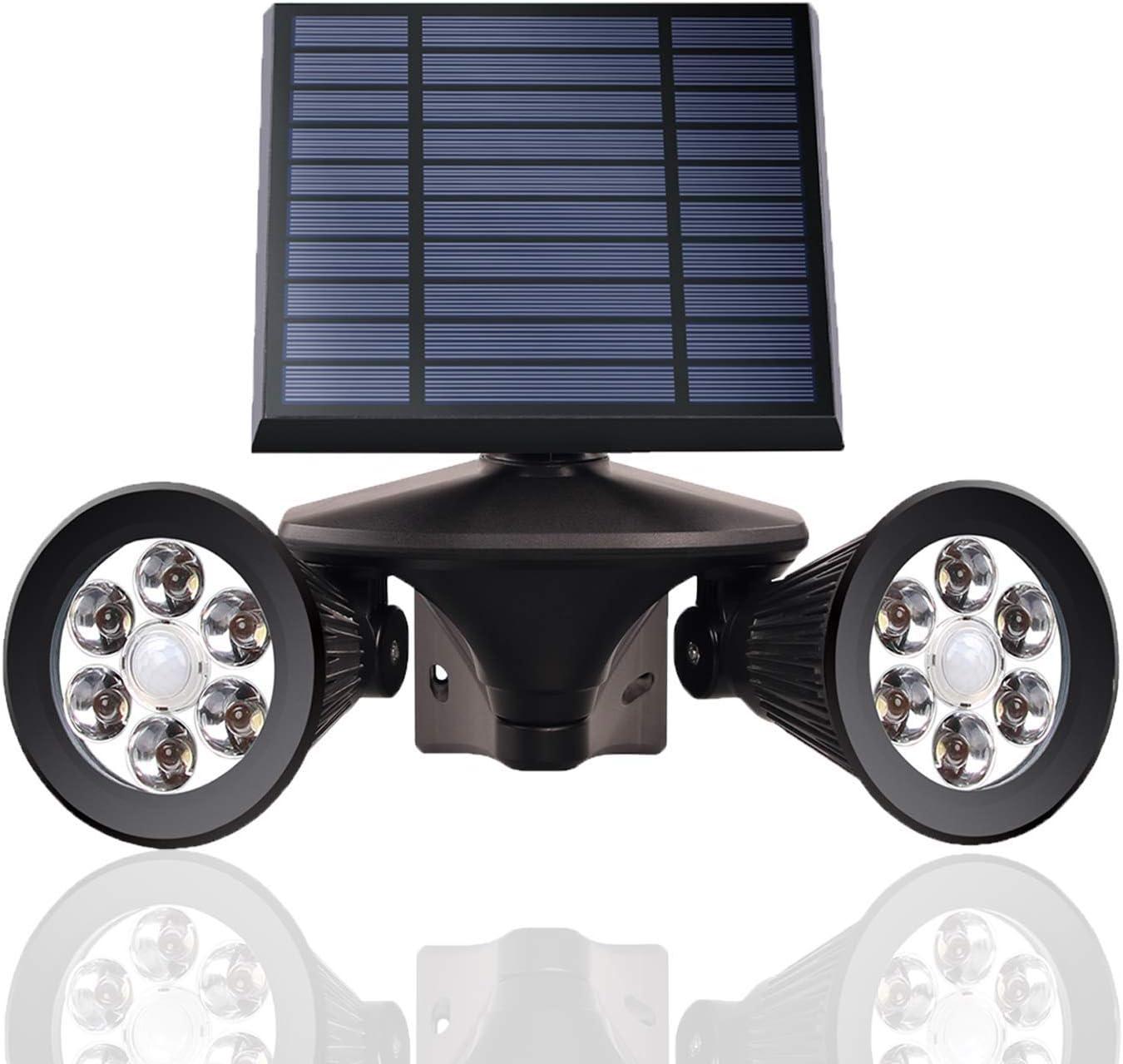 Outdoor Solar Light Motion Sensor, 4500mAh LED Dusk to Dawn Security Lights, 6500K Daywhite, IP65 Waterproof Pathway Solar Powered Wireless Flood Lights for Yard, Garage, Garden, 1-Pack, GLEEBOM