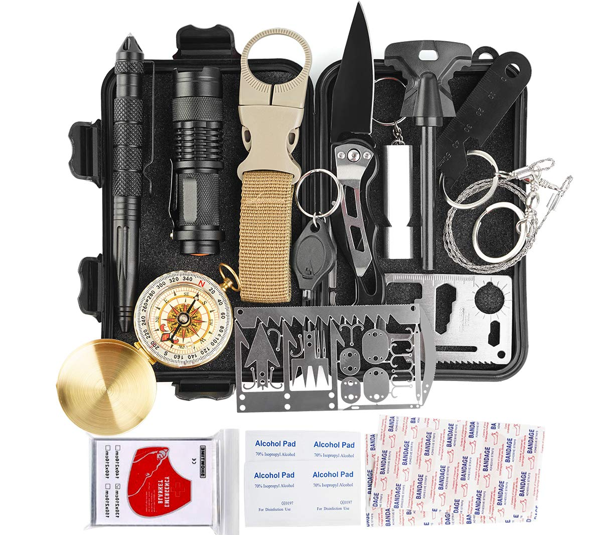Kitpipi Survival Gear Kit 27 Pieces Outdoor Survival Tool Emergency Camping Gear With Compass Flintstones Saber Card Styptic For Adventure Outdoors Sport Best Gift For Men Boys Buy Online In Pakistan At