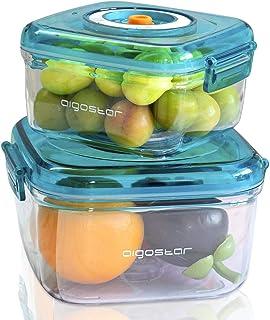 comprar comparacion Aigostar - Recipientes para envasar al vacío. Conservación y almacenamiento de alimentos. Pack de 2 unidades de distintos ...