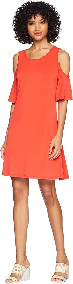 kensie - Slinky Knit Cold Shoulder Dress KS5K8197