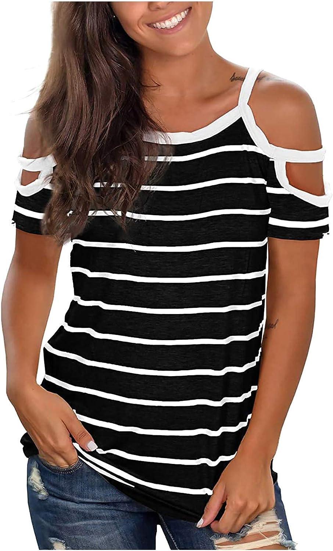 Blusa para mujer, elegante, sin hombros, de verano, a rayas, camiseta para mujer, manga corta, cuello redondo, camiseta clásica
