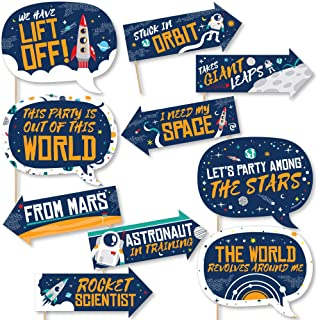 24 Count Rocket Ship Baby Shower or Birthday Party Circle Sticker Labels Blast Off to Outer Space