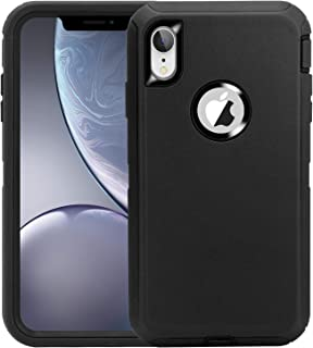 iPhone XR Case,3-in-1 Design Heavy Duty Anti-Fall Shockproof Dust-Proof Non-Slip Rubber Protective Cover Compatible for iPhone XR 6.1 inch(2018)-Black
