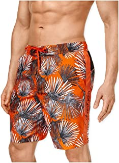 Calvin Klein Men's Microfiber Palm Print Volley Swim Trunk