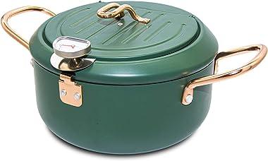 "RanRanStore Japanese Tempura Deep Fryer Pot with Thermometer gauge lid 8"" 2200ml 2.3 Quart with nonstick coating Mini Dee"