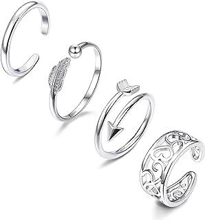 CASSIECA 4 Pezzi Open Toe Ring Anello in Argento Sterling 925 per Donne Ragazze Regolabile Anelli Aperti Toe Ring Anello P...