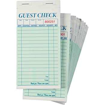 50 Forms 3.375 x 7 Inches Rediform Guest Check Pad White 5F740