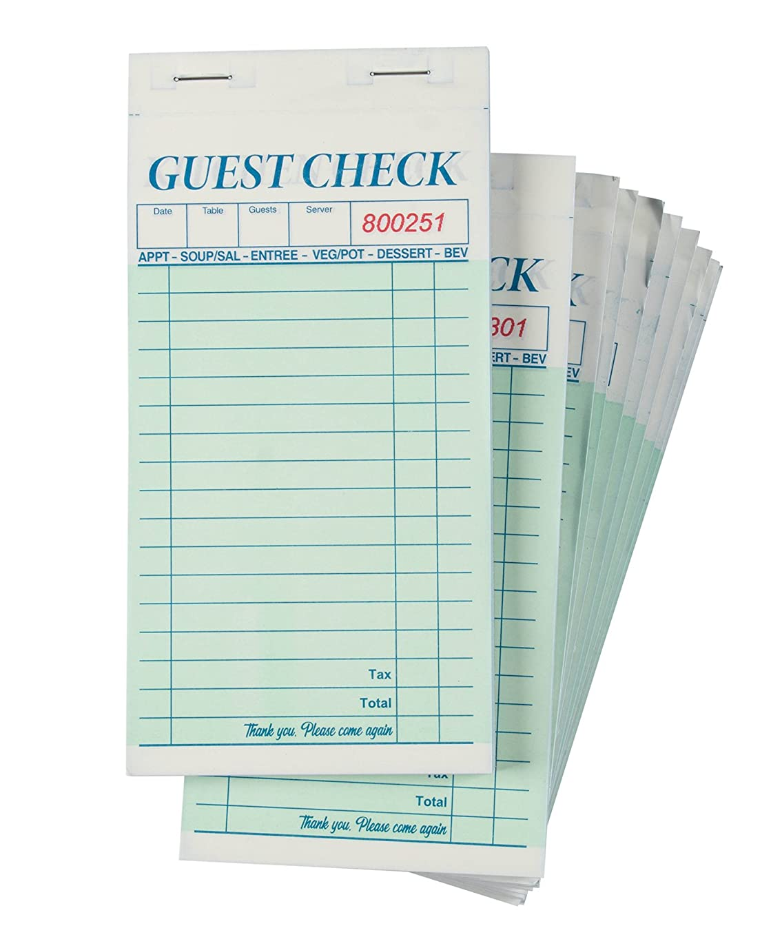 Guest Checks - 10-Pack Waiter Pads, Perfect for Bars, Cafés and Restaurant Orders - Classic Design with Copy Page, Waitress Accessories, 100 Sheets Each, 3.4 x 7 Inches