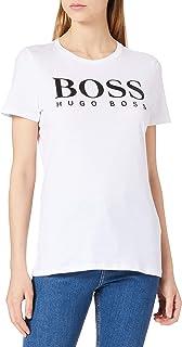 BOSS Womens C Elogo1 Organic-Cotton T-Shirt with Large-Scale Logo Print
