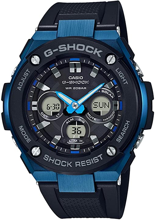 Orologio men`s casio g-shock g-steel black and blue solar resin watch gsts300g-1a2 GST-S300G-1A2
