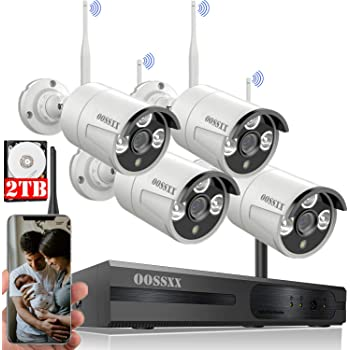 [60 Days Storage&Expandable 8CH]Wireless NVR Security Camera System Outdoor With 2TB Hard Drive ,Wireless CCTV Video Surveillance Wifi Camera Systems With DVR,4Pcs 1080P Wireless IP Cameras with Audio