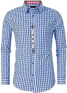 Men's German Bavarian Oktoberfest Lederhosen Shirt Button Down Plaid Shirt