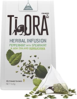 Ti Ora Herbal Infusion – Peppermint with Spearmint & New Zealand Kawakawa - 4 Packs of 15 Pyramid Tea Bags (60 Serves), 4 ...