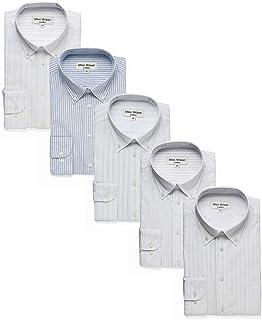 Milee Mclean(ミリーマクリン) ワイシャツ 5枚セット メンズ 長袖 ボタンダウン ビジネス シャツ イージーケア