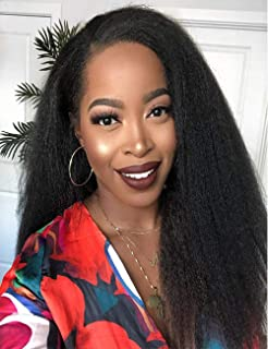 Chantiche Natural Looking Italian Yaki Lace Front Wigs Best Brazilian Remy Human Hair Wigs with Baby Hair for African Americans 130 Density 18 Inch #1B