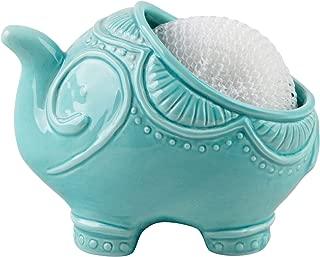 Home Essentials Ceramic Turquoise Elephant Scrubby Holder
