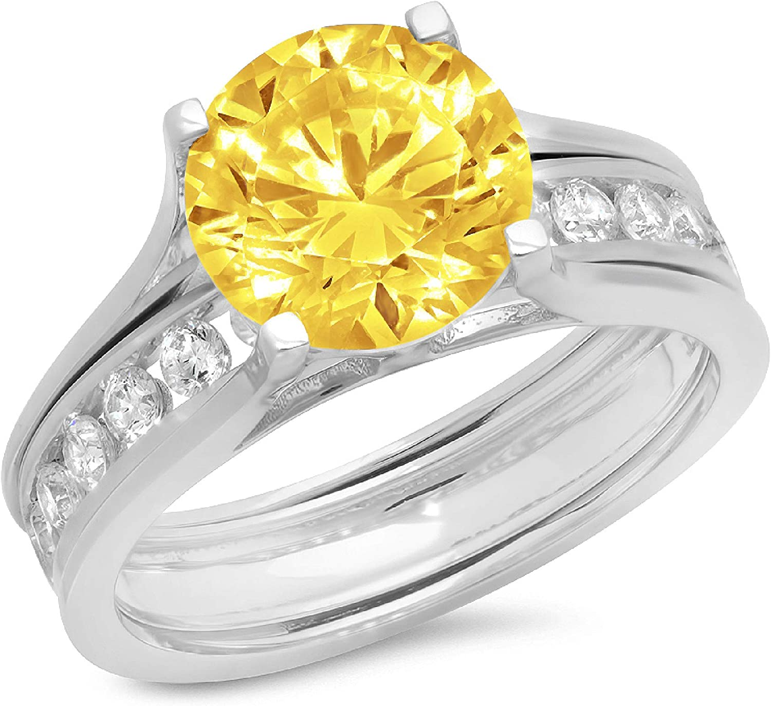 2.83ct Round Cut Pave Solitaire with Accent VVS1 Ideal Canary Yellow Simulated Diamond CZ Engagement Promise Designer Anniversary Wedding Bridal ring band set Sliding 14k White Gold