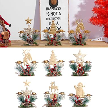 Daoxiang Christmas Candle Ornaments, Mini Christmas Wrought Iron Candle Lantern Candlestick, Santa Claus | Elk | Snow | Tree