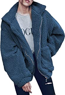 Doreyi Womens Double Breasted Lapel Open Front Fleece Coat with Pockets Outwear