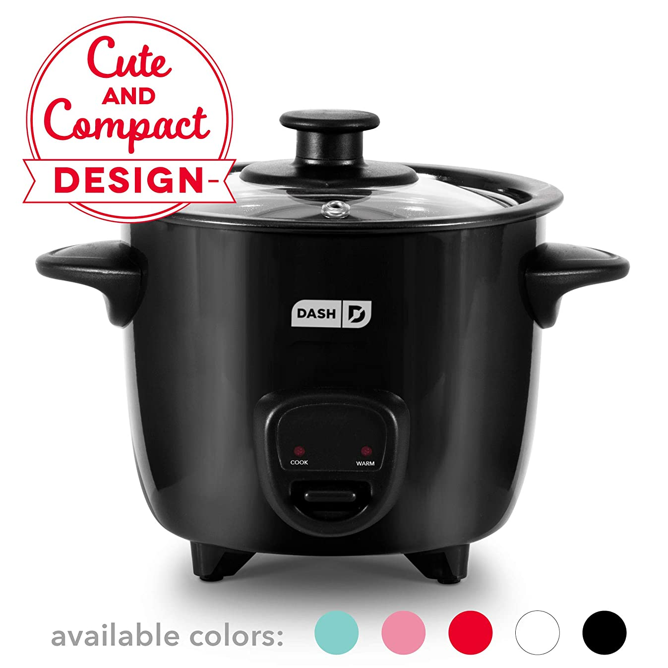 Dash DRCM200BK Mini Rice Cooker Steamer with with Removable Nonstick Pot, Keep Warm Function & Recipe Guide, Black