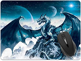 Extra Large (X-Large) Size Non-Slip Rectangle Mousepad, FINCIBO Blue Ice Dragon Mouse Pad for Home, Office and Gaming Desk