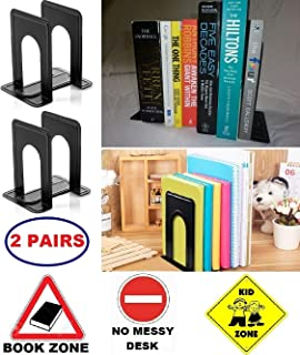 Bookends for Shelves Books Book Ends Holder Heavy Duty Shelf End Men Office Decor Kitchen Organizer Bookshelf Library Kids Nursery Decorative Dividers Game Black Metal Iron,2 Pairs, Gadgets of George