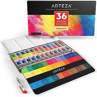Arteza Premium مجموعه رنگ آبرنگ، 36 رنگ مختلف رنگی پان نیمه با قلم مو قلم برای هنرمندان و هنر نقاشی در قلع جعبه