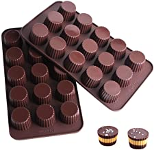 Webake Chocolate Candy Molds Silicone Baking Mold for Snack Size Peanut Butter Cup, Jello, Keto Fat Bombs and Cordial, Pac...