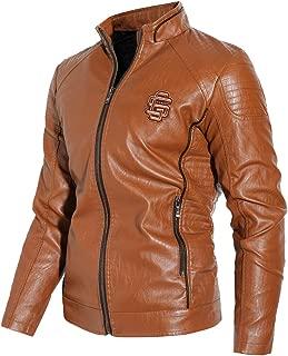 NXH® Men's PU Motor Jacket Soft Leather Slim Fit Thickened Outwear Blazer M