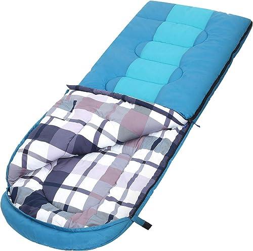 SONGMICS Saco de Dormir Grande con Bolsa de Compresión, Temperatura Ideal 5-15°C, 3-4 Estaciones, Fácil de Llevar, Li...