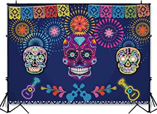 Funnytree 7x5ft Mexican Fiesta Theme Photography Backdrop Mexico Foster Guitar Party Background Cinco de Mayo Colorful Flags Skull Banner Dress up Cake Table Decoration Photo Booth Props