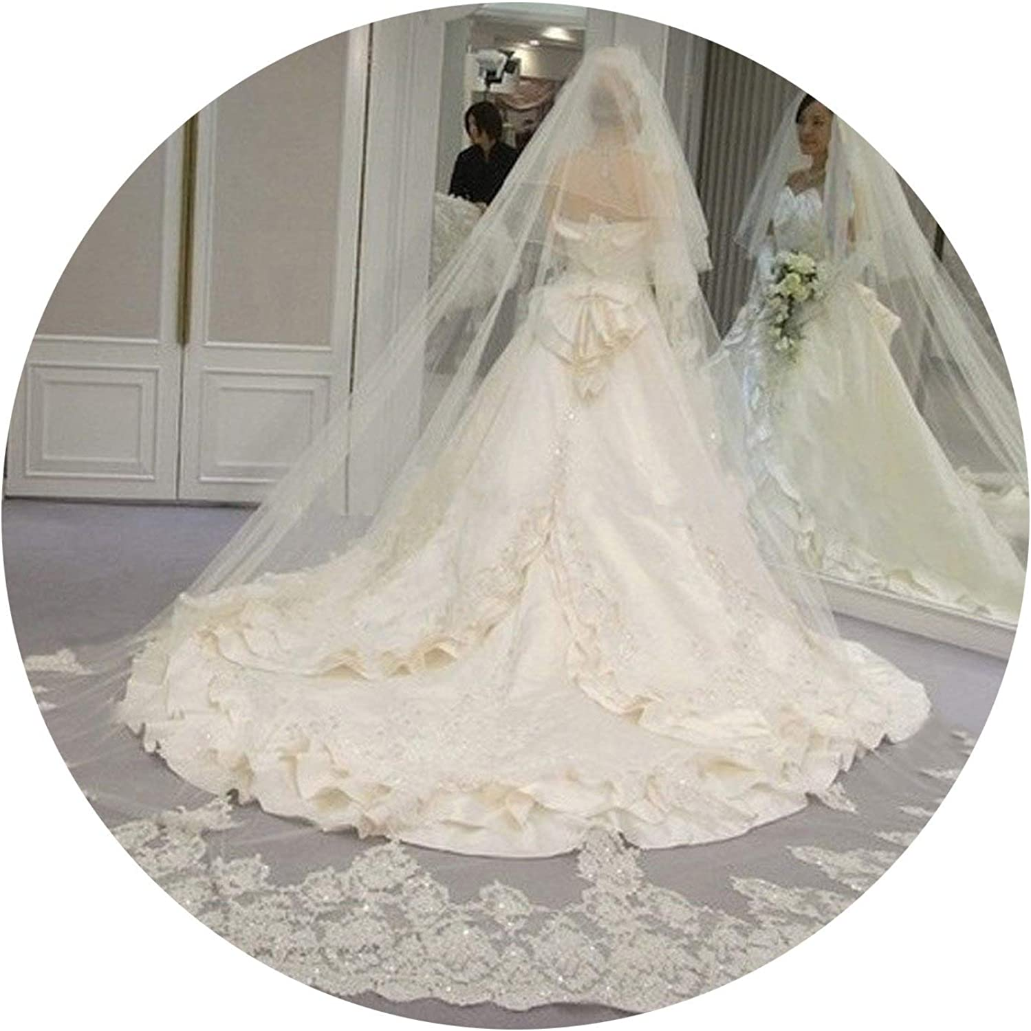 4 Meters 2T White & Ivory Sequins Blings Sparkling Lace Edge Purfle Long Cathedral Wedding Veils,Ivory
