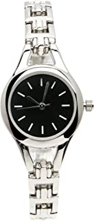 Women's Stainless Steel Watch with Round Black Face