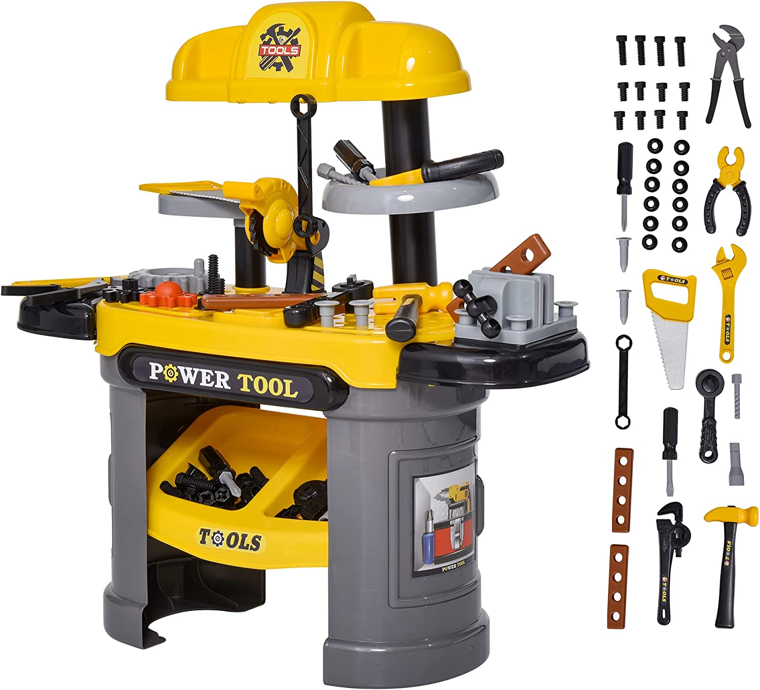 Qaba Play Toy Workbench for Kids 64 Pieces Tools Plus Case Storage Shelf Construction Tool Accessories Playset Construction Pretend Play Toy Kit Yellow Grey