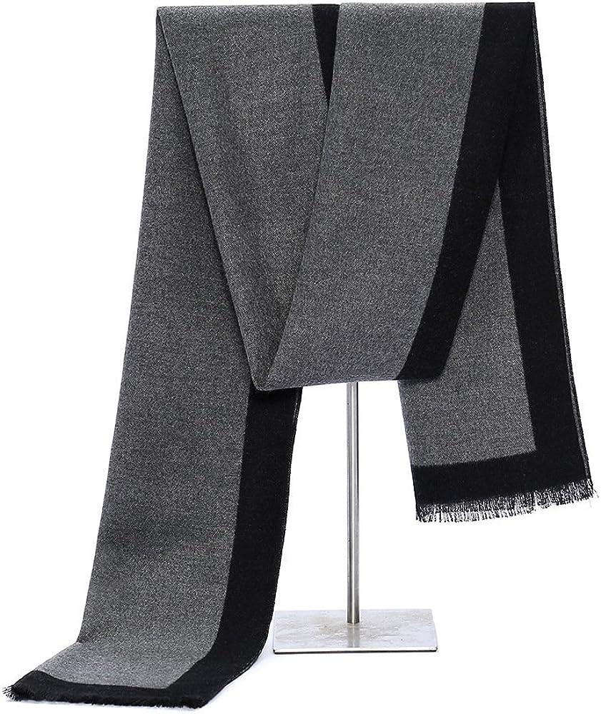 Osye Classic Charming Men Winter Scarves - Long Black Stripe Nap Scarf
