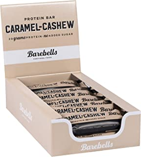 Barebells Caramel Cashew High Protein and Low Carb Bar, 12 x 55g (1,94 oz) Low Sugar Snack Protein Bar with 20g protein