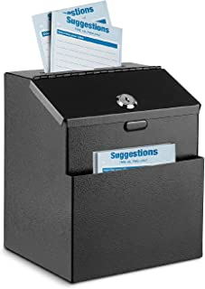 Flexzion Suggestion Box with Lock Wall Mounted Multi-Purpose Donation Ballot Charity Mailbox Idea Forms Collection Key Dro...