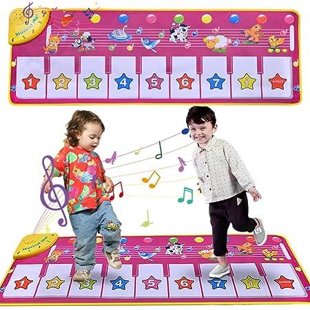 Faburo 100 x 36 cm Tappeto Musicale para Bambini, Musicale Bambini Piano Mat Tastiera Danza Stuoia Strumento Musicale Giocattoli Educativi Viola (Senza Batteria)
