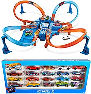 Bundle Includes 2 Items - Hot Wheels Criss Cross Crash Track Set and Hot Wheels 20 Car Gift Pack (Styles May Vary)