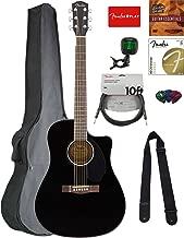 Fender CD-60SCE Dreadnought Acoustic-Electric Guitar - Black Bundle with Gig Bag, Tuner, Strap, Strings, Picks, Austin Bazaar Instructional DVD, and Polishing Cloth