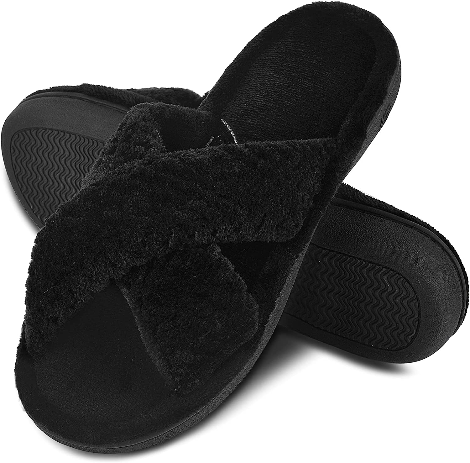 DL Women's Open Toe Cross Band Slippers, Memory Foam Slip on Home Slippers for Women with Indoor Outdoor Arch Support Rubber Sole