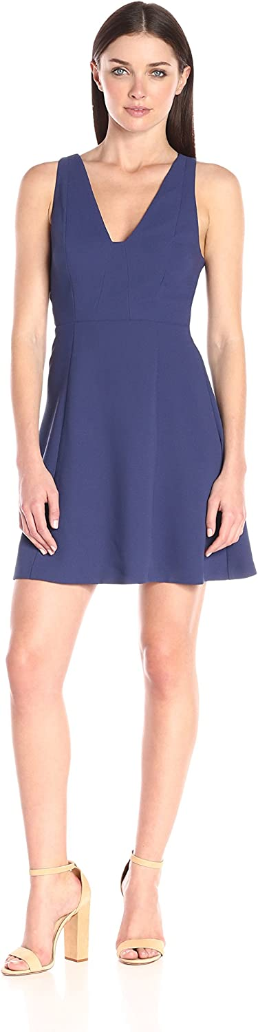 BCBGeneration Womens VNeck Fit and Flare Dress