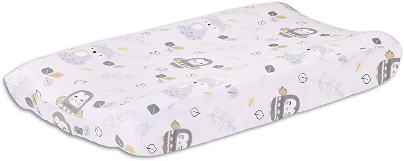 Woodland Friends Owls And Foxes Baby Changing Pad Cover Grey And Tan Velour