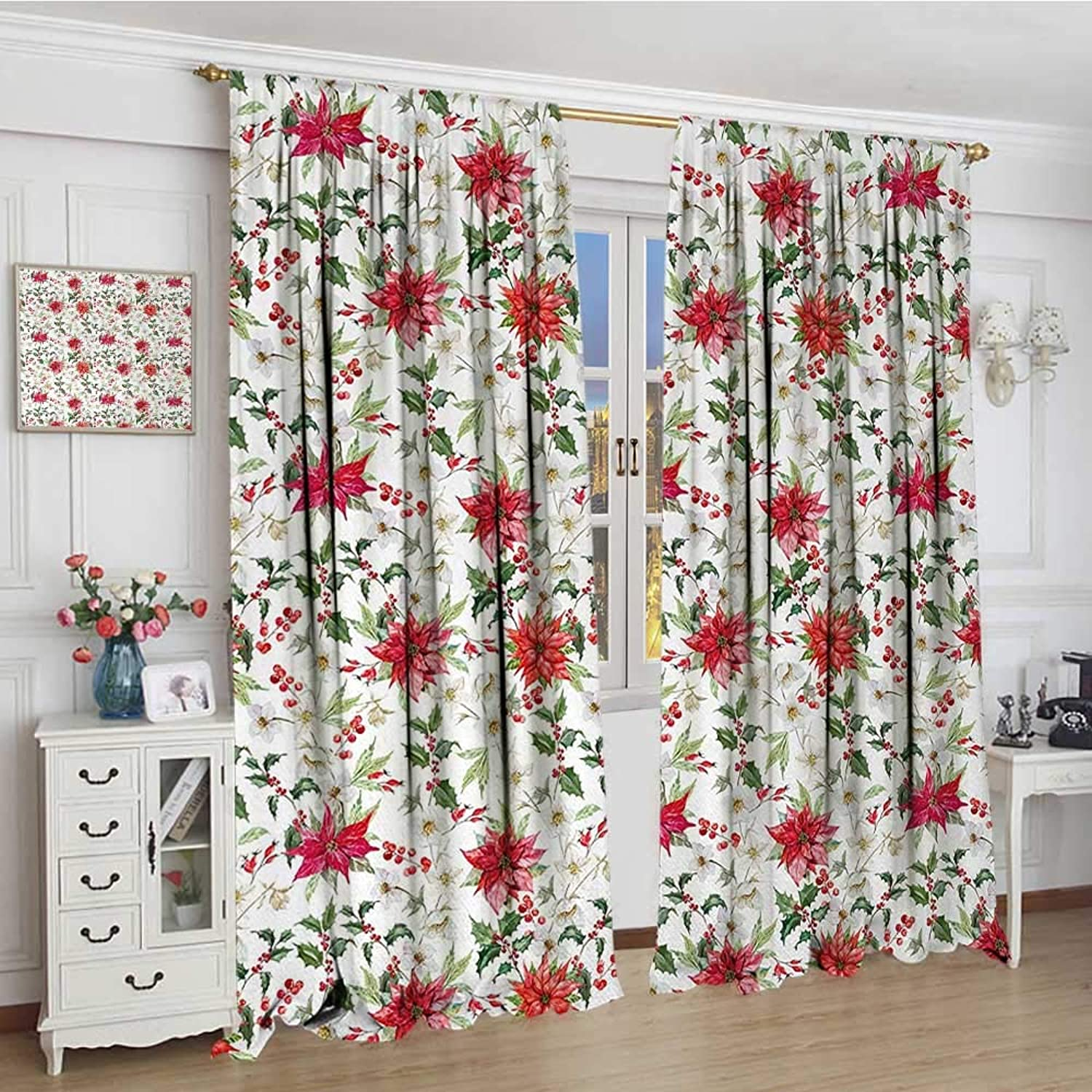 Smallbeefly Watercolor Thermal Insulating Blackout Curtain Fresh Poinsettia Flowers and Rowan Berry Branches Christmas Garden Decorative Curtains for Living Room 96 x96  Vermilion Green Magenta