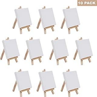 Set Mini Lienzo paneles Arte con Caballete de Madera- Pack 10 Lienzos (10x10cm) Caballete (14,5 cm) Mini Exhibidor Caballete Madera Lienzo en Blanco Dibujar, Pintura al Óleo, Sobremesas, Manualidades