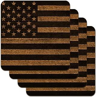 Rustic Subdued American Flag Wood Grain Design Low Profile Novelty Cork Coaster Set