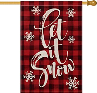 AVOIN Watercolor Buffalo Plaid Let it Snow House Flag Vertical Double Sized, Christmas Winter Holiday Farmhouse Burlap Yard Outdoor Decoration 28 x 40 Inch