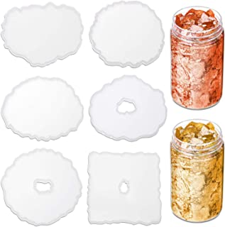 Resin Coaster Molds for Resin Casting, Anezus 6 Pack Silicone Geode Coaster Molds with Gold Foil Flakes for Resin Coasters